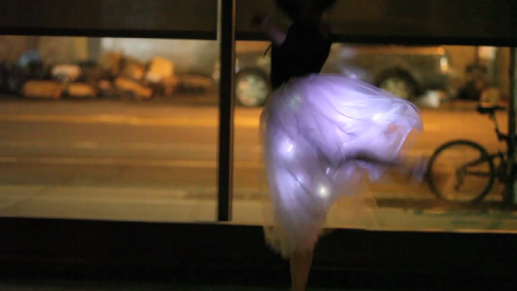 Motion sensitive electronic tutu